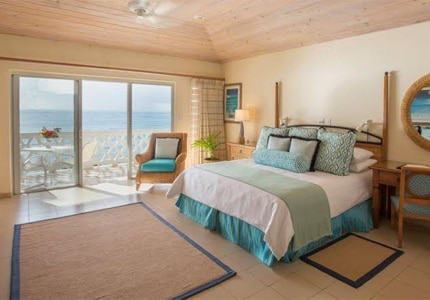 An ocean-view guest room at Curtain Bluff in Antigua