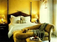 The guest rooms at Hotel Casa del Mar in Santa Monica, California come in beautiful golden tones