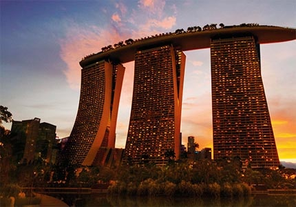 Marina Bay Sands, one of GAYOT's Top 10 Casino Hotels Worldwide, has breathtaking views