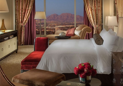 A guest room at the all-suite Palazzo Las Vegas in Nevada