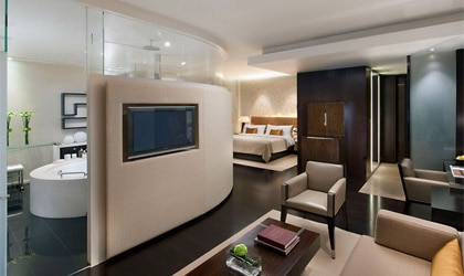 A guest room at the Landmark Mandarin Oriental in Hong Kong