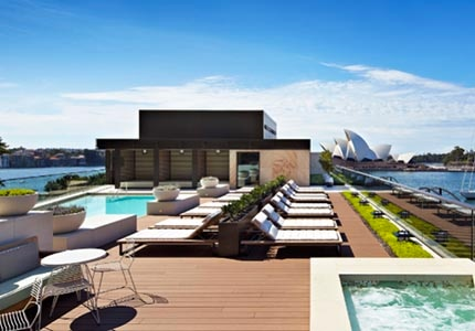 The rooftop pool at Park Hyatt Sydney, one of GAYOT's Top 10 Celebrity Spotting Hotels Worldwide