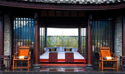 A guest room at Banyan Tree Lijiang in China
