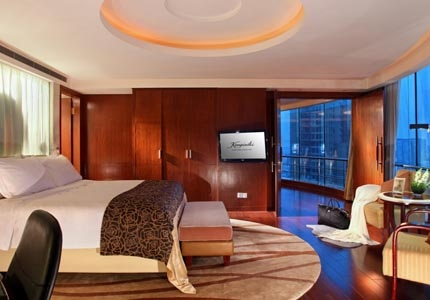 A guest room at Kempinski Hotel Chengdu in China