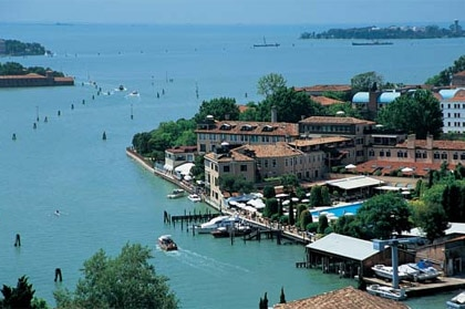 Aerial view of Hotel Cipriani in Venice, Italy