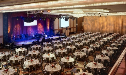 The ballroom complete with stage at the New York Hilton Midtown