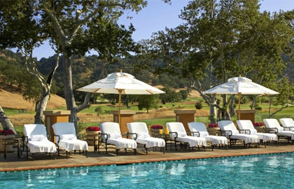 The swimming pool at CordeValle, nestled in in the foothills of the Santa Cruz Mountains