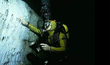 A diver at Bonne Terre Mine in Missouri
