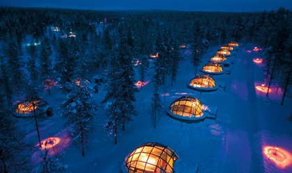 Glass igloos dot the property of Hotel Kakslauttanen in Lapland, Finland