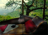 A lounge chair with a view at Green Magic Treehouse Resort