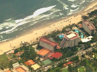 A view of The Fairmont Acapulco Princess from the sky