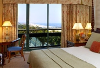 A deluxe ocean-view room at the Fairmont Miramar Hotel & Bungalows
