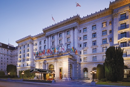 Elegant exterior of Fairmont San Francisco in California