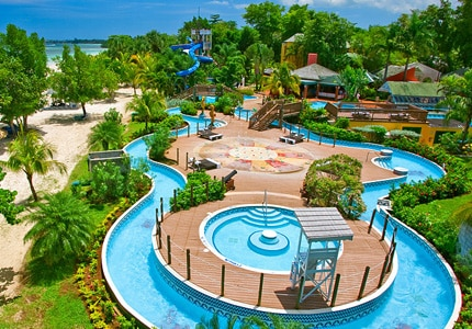 The water park at Beaches Negril in Jamaica, one of GAYOT's Top 10 Family Resorts Worldwide