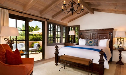 A guest room at Rancho Valencia in Rancho Santa Fe, California