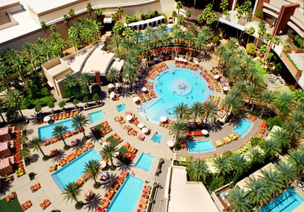 The extensive pool area of Red Rock Casino, Resort & Spa in Las Vegas, one of GAYOT's Top 10 Family Resorts in the U.S.