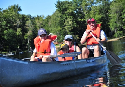 Canoeing at Woodloch Pines Resort in Hawley, Pennsylvania