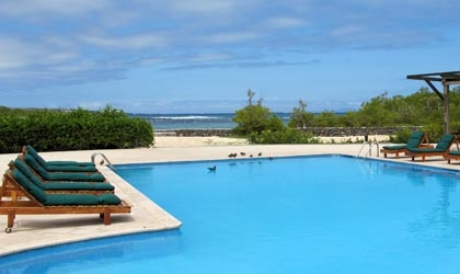 Finch Bay Eco Hotel's private pool with ocean view, in Galapagos Islands, Ecuador