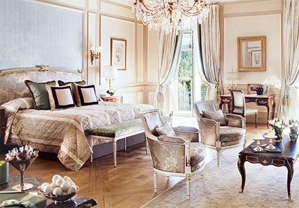 A guest room at Le Meurice in Paris, France