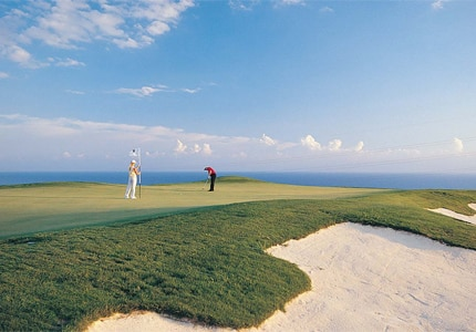 The 18-hole golf course at Aphrodite Hills Resort overlooks the site where Aphrodite, the goddess of love, is said to have emerged from the sea