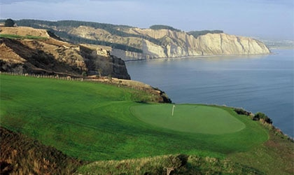 Cliff edge golfing at The Farm at Cape Kidnappers in New Zealand