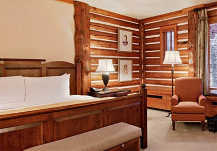 A guest room at The Fairmont Jasper Park Lodge in Alberta, Canada