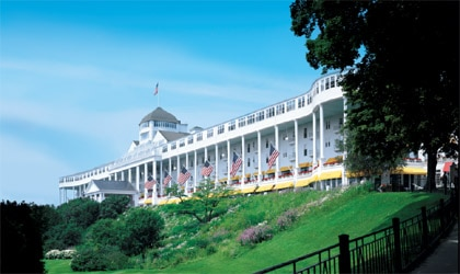 View from the lawn of Grand Hotel on Mackinac Island in Michigan