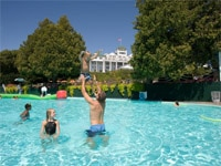 The Esther Williams pool at Grand Hotel on Mackinac Island, MI