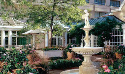 The serene courtyard garden at The Fairmont Washington, D.C.