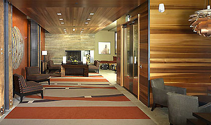 The lobby at Hotel Terra in Jackson Hole, Wyoming