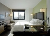 A guest room at Element New York Times Square West in NYC
