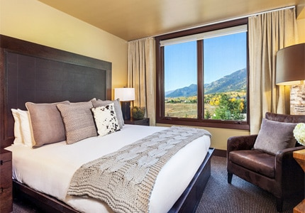 A guest room at Hotel Terra Jackson Hole in Jackson Hole, Wyoming