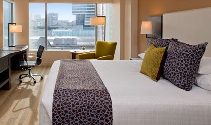 A guest room at Hyatt at Olive 8 in Seattle, Washington