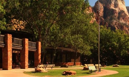 The entrance of Zion National Park Lodge at Zion National Park in Utah