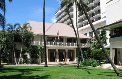 The exterior of Halekulani in Honolulu, Hawaii
