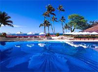 The pool at Halekulani in Honolulu, Hawaii, is a tropical paradise