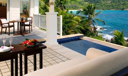 Enjoy Champagne for two at the Pool Villa by the Rocks at Banyan Tree Seychelles in Africa