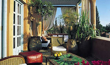 The view from the terrace of the Leila suite at Dar Rhizlane in Marrakech, Morocco