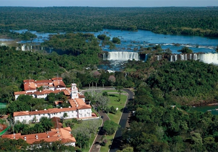 An aerial view of Belmond Hotel das Cataratas and Iguazu Falls in Brazil