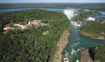 An aerial view of Belmond Hotel das Cataratas and Iguassu Falls in Brazil