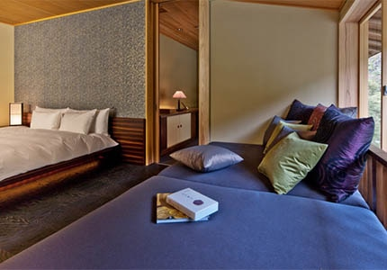 A guest room at Hoshinoya Kyoto in Japan