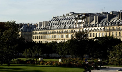 A view of Le Meurice from the Tuileries in Paris, France