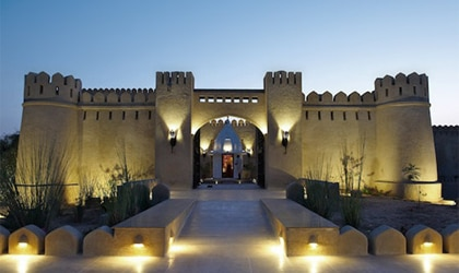 The stunning entryway at Mihir Gahr in Rajasthan, India