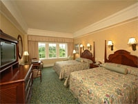 Cozy bedrooms of the Hong Kong Disneyland Hotel in China