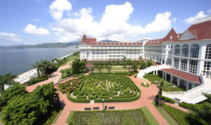 Maze view of the Hong Kong Disneyland Hotel in China