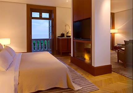 A guest room at Aman Sveti Stefan in Montenegro