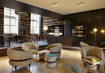 The Library Lounge at B2 Boutique Hotel + Spa in Zurich, Switzerland, one of GAYOT's Top 10 Hot European Hotels