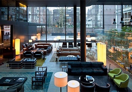 The lobby of Conservatorium in Amsterdam, one of GAYOT's Top 10 Hot European Hotels