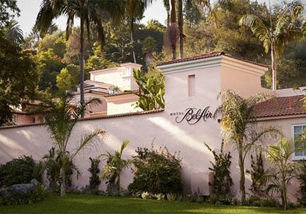 The exterior of Hotel Bel-Air in Los Angeles, California
