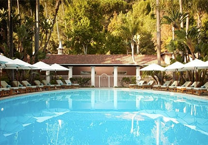 The tropical swimming pool at Hotel Bel-Air in Los Angeles, California